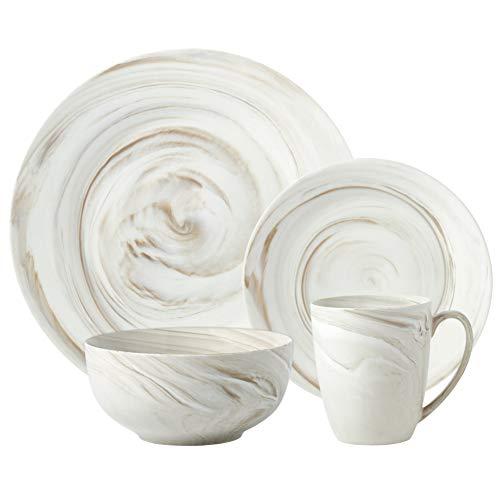 Hoomeet Marble Porcelain 16-Piece Dinnerware Set, Service for 4 (Cream)