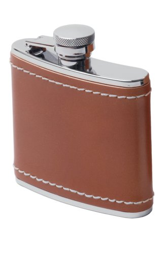 GSI Outdoors Glacier Leather Wrapped Flask -4 oz (Gsi Flask Leather)