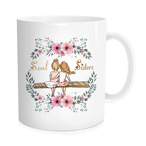 Hasdon-Hill Best Friend Mug, Soul Sisters Coffee Cup, Friendship Gift, Sister Gift, Long Distance Friends, Friends Forever, Step Sisters, Besties, BFF, Blonde 11 Oz