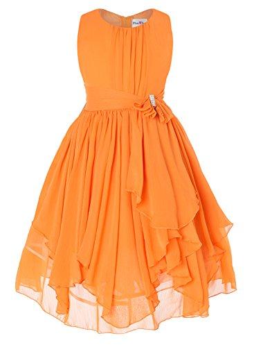 DressForLess Yoryu Chiffon Asymmetric Ruffled Flower Girl Dress , Orange, 4, (KK2040OR-4)
