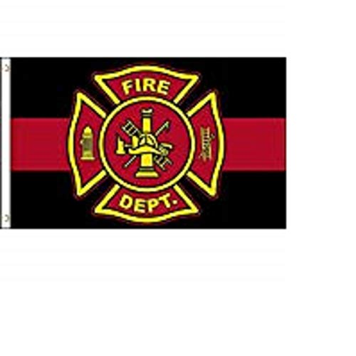 K's Novelties Fire Department Thin Red Line Flag 3x5 ft Maltese Cross Firemen Fireman Memorial