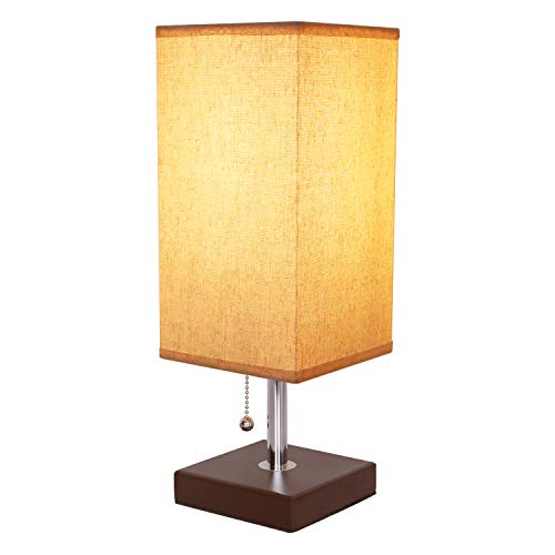 Table Lamp with Pull Chain, Seealle Bedside Modern Nightstand Desk Lamp with Wooden Base, Fabric Lampshade, Ambient Light for Bedroom, Living Room