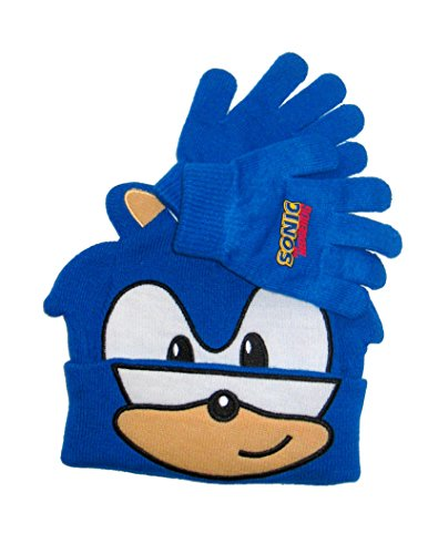 Sonic The Hedgehog Beanie Knit Hat and Glove Set