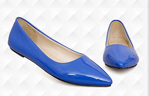 puntiagudo del ballet zapatos de de dedo charol del color las de del zapatos mujeres del pie Aisun azules Comfy caramelo Tvq6ww1