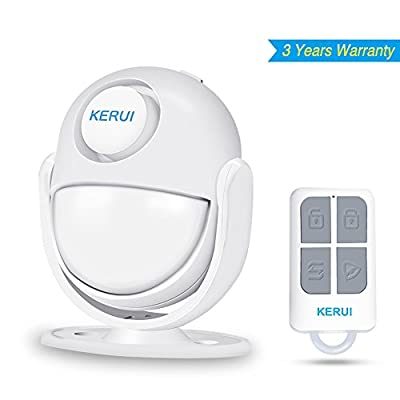 Motion Sensor Alarm,KERUI Wireless Home Security Infrared Alarm With Remote Control key. All-in One Burglar Alarm System,Visitor Guest Entry Doorbell Chime with Remote LED Indicators