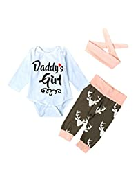 ANBOO Daddys girl Baby Deer Printing Bodysuit+Pants with Hairband Outfits Set