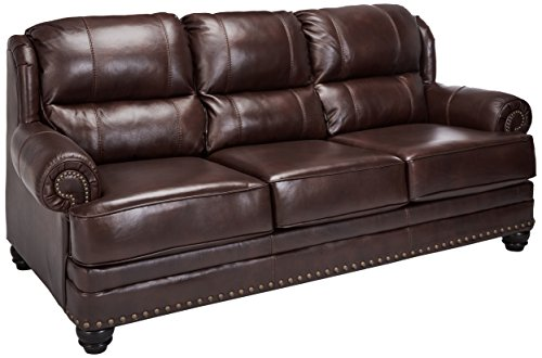 Set Chestnut Sofa (Ashley Furniture Signature Design - Glengary Sofa - Traditional Style Couch - Chestnut)