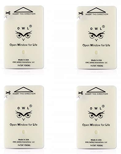 OWL 4 Pack Car Window Breaker Card & Seatbelt Cutter, Auto Crash Emergency Escape Tool Card, Life Saving Survival Kit - Made in USA (4 Ivory Cards/no Holders)