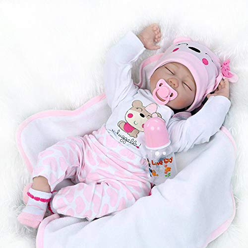Reborn Baby Silicone Doll Gifts 22 inch Realistic Real Like Sleeping Girl Pink Outfit with Lovely Pets Hat