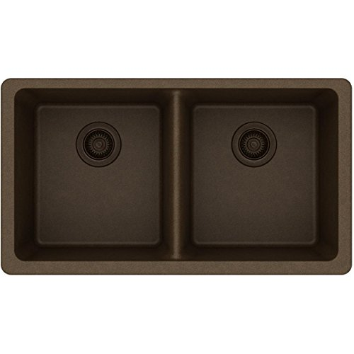 Elkay Quartz Classic ELGU3322MC0 Mocha Equal Double Bowl Undermount Sink (Bowl Gourmet Double Undermount)