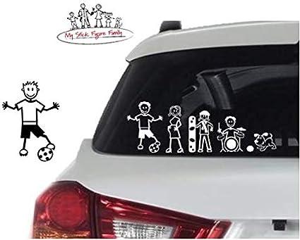 My Stick Figure Family Familie Autoaufkleber Aufkleber Sticker Decal älterer Junge ältere Junge Fußball Tm11 Auto