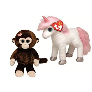 Ty Beanie Babies Mystic the Unicorn and Petals the Monkey Plush Toys