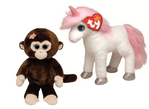 Ty Beanie Babies Mystic the Unicorn and Petals the Monkey Plush Toys 3