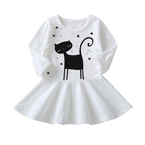 JiaMeng Ropa Ni?a de Oto?o Vestido de la Impresiš®n del Gato de los Ni?os de la Manga Larga Vestidos Ocasionales: Amazon.es: Ropa y accesorios