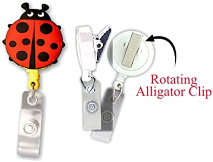 Lady Bug Smart Charms 3D Soft Rubber Retractable Badge ID Holder