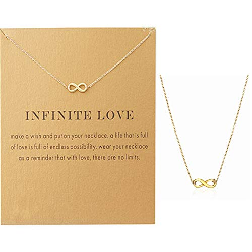 VIIRY Friendship Love Infinity Dragonfly Star Horseshoe Clavicle Necklace with Blessing Card, Small Dainty Pendant Necklace for Women Gift Card