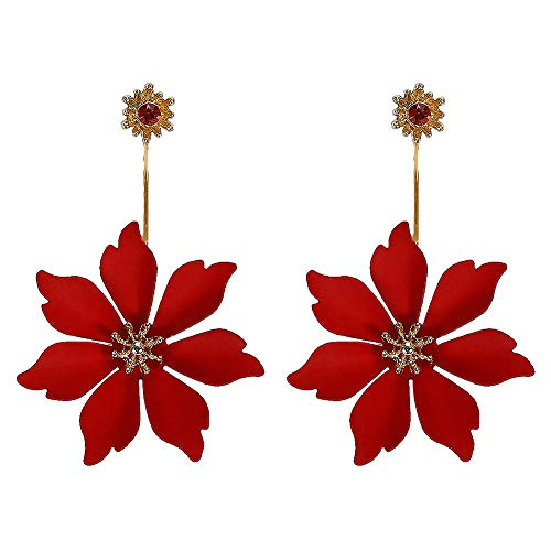 Dangling Red Flower - Metal matte Flower Earrings,Bohemian Statement Flower Dangle Earrings Floral Drop Earrings Ear Drop for Parties Fashion Jewelry (Red)