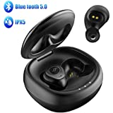Wireless Earbuds, Letsfit Bluetooth 5.0 Headphones True Wireless in-Ear Earbuds 20H Playtime Deep Bass 3D Stereo Sound, Bluetooth Earbuds with Built-in Mic Portable Charging Case