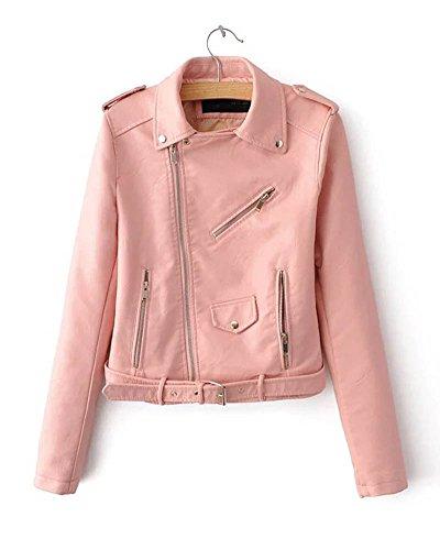 Femme Cuir Fit Classique Veste Pink Slim En Col Moto De Veste Courte Biker SaiDeng Revers gd1Andx