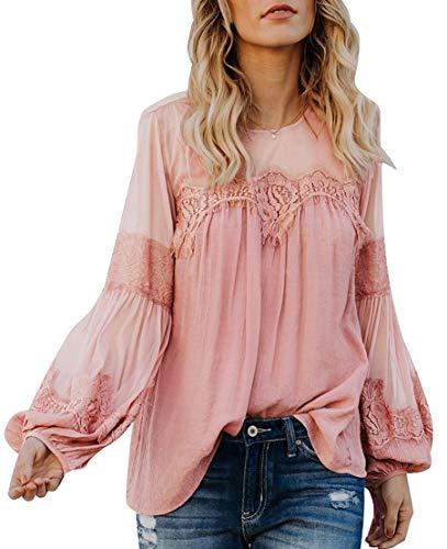 Jubarty Us Women's Elegant Lace Blouse Lantern Sleeve Hemp Top with Keyhole Back Pink XXL ()