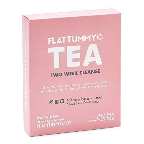 Flat Tummy Tea | All-Natural Detox Tea to Help Women with Slimming, Weight Loss, Reduce Bloating - 2 Step Metabolism Boosting Teatox System (14 Day Cleanse) by Flat Tummy Tea