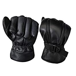 Generic Black Solid Leather Warm Winter Riding Gloves, Protective Cycling Bike Motorcycle Gloves(L)_009