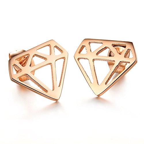 Women'S Titanium Stainless Steel Anti-Allergy Stud Earrings Rose-Golden - Diamond Titanium Earrings