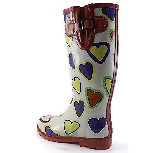 Dames Plas Regen En Snowboots Multi Kleur Mid Kalf Kniehoge Waterdichte Regenlaarzen Multi Hart