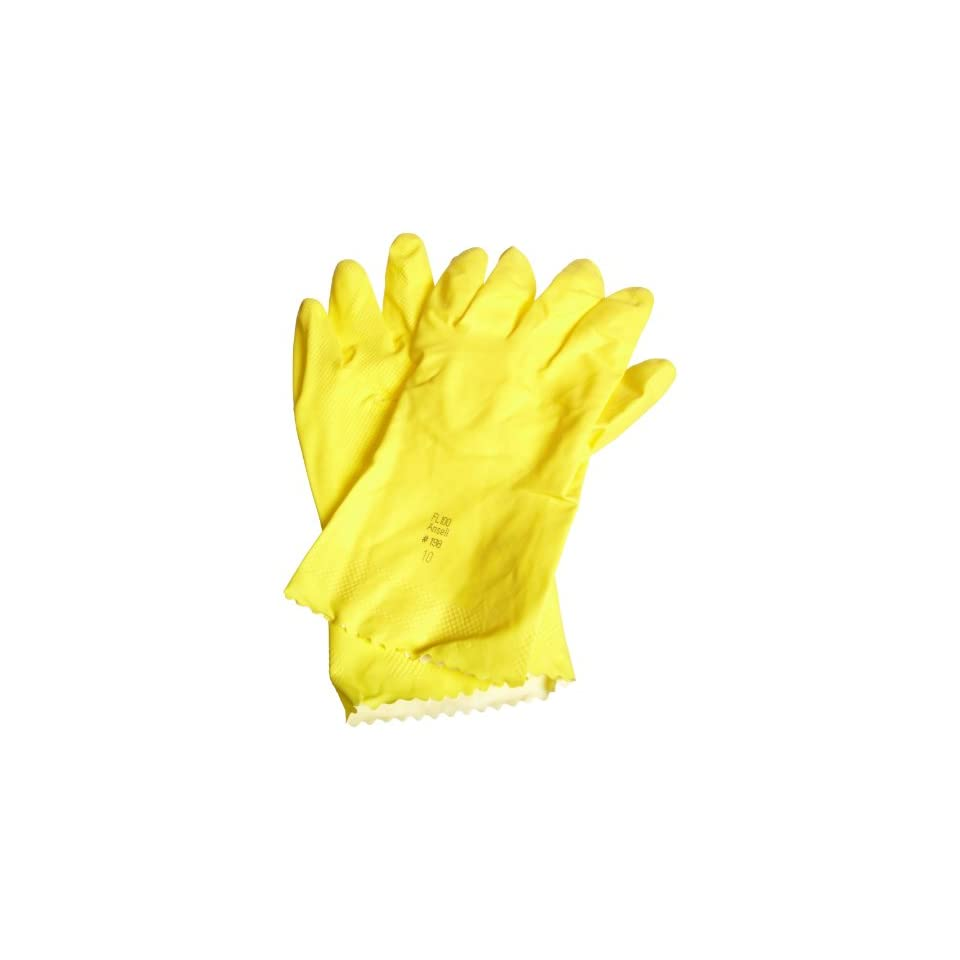 """Ansell FL 87 198 Light Duty Latex Glove, Chemical Resistant, 12"""" Pinked Cuff, 12"""" Length Chemical Resistant Safety Gloves"""
