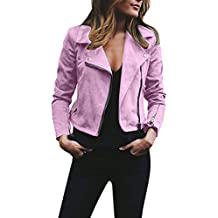 TIFENNY Womens Fashion Short Tops Ladies Retro Rivet Zipper Up Bomber Jacket Casual Coat Outwear