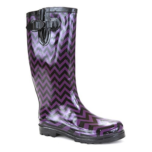 Twisted Women's Drizzy Tall Rubber Chevron Print Rain Boot- DRIZZY05 Purple/BLK, Size 11