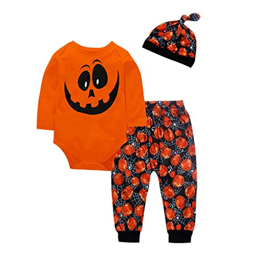 Toddler Kids Halloween Costume Outfit 3 Pcs,Crytech Soft Cotton Pumpkin Ghost Pattern Floral Long Sleeve Romper Pants and Hat for Baby Boy Girl Party Photoshoot Clothes (0-6 Months, Yellow)
