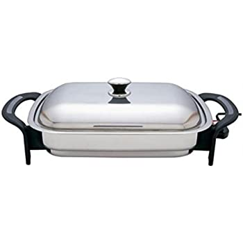 Precise Heat 16-Inch Rectangular Surgical Non Stick Stainless Steel Electric Skillet