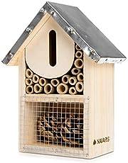 Navaris Casetta per Insetti in Legno - Rifugio Ecologico per Farfalle vespe api coleotteri 15x8x20cm Nido Tetto in Metallo - Materiali Naturali