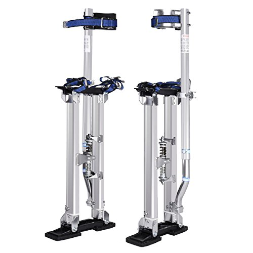 "Goplus Drywall Stilts 18"" - 30"" Aluminum Painting Stilts Lift Tools for Taping Finishing (Silver)"