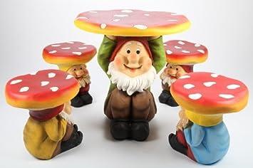 Point Garden 5 Teiliges Gartenmöbel Set Kindermöbel Gartengarnitur Pilz Mit  Zwerg