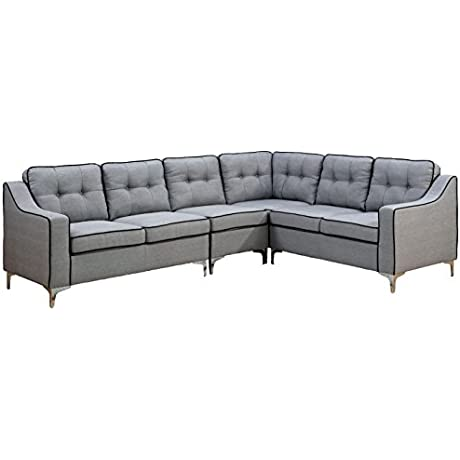 HOMES Inside Out IDF 6851GY SEC Meghan Contemporary Sectional Sofa Gray