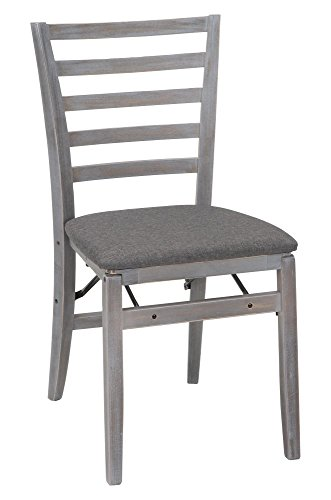 (COSCO Contoured Back Wood Folding Chair with Fabric Seat, Gray Wash,)