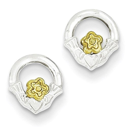 925 Sterling Silver Vermeil Flower Irish Claddagh Stud Earrings