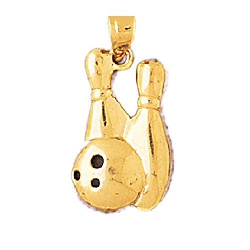 - 14k Yellow Gold Bowling Pin & Ball Pendant, Made in USA
