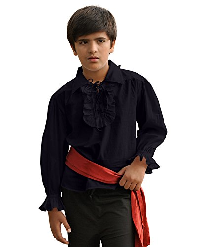 ThePirateDressing Kids Pirate Medieval Renaissance Medieval Cosplay Costume 100% Cotton Captain Kennit Shirt C1255 (Black) (X-Large) -