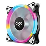 neon fans - Aigo Halo LED Ring Fan 120mm Silent Sleeve Bearing PC CPU Cooling Neon Quite Clear Case Fan Mod 4 Pin/3 Pin for Computer Cases CPU Coolers and Radiators (120mm, RGB)