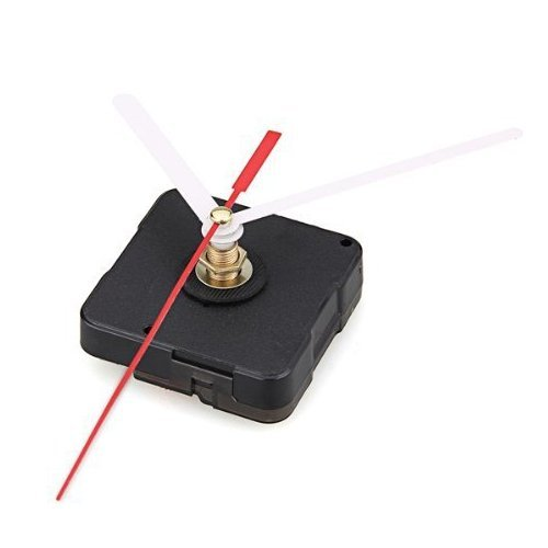 BUYEONLINE Clock Movement Mechanism With White Hour Minute Red Second Hand Diy Tools Kit