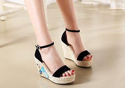 BaiLing Sandali di estate delle delle delle donne cuneo Heel handmade lavorato a maglia paglia impermeabile ricamo scarpe di piccole dimensioni, nero, CN38 0f4c96