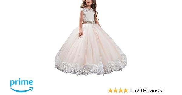 370d8aada3a8 Amazon.com  AbaoSisters Flower Girl Dress Floral Appliques ...