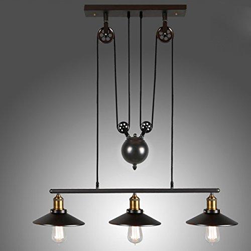(Lovedima Tray Adjustable Height Pulldown Island Pendant Light Ceiling Lamp Retro Industrial 1 Light/2 Lights/3 Lights (3-Light))