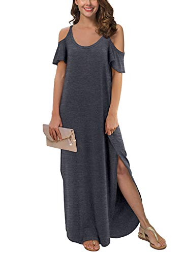GRECERELLE Women's Summer Strapless Strap Cold Shoulder Casual Loose Dress Cover Up Long Cami Split Maxi Dresses with Pocket Dark Gray-2XL (Best Shops For Maxi Dresses)
