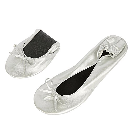 ZSWELL Sliver Comfortable Foldable ballet Flats with EXPANDABLE TOTE Bag for Carrying Travel Fold up Shoes 1aYVpRHS6