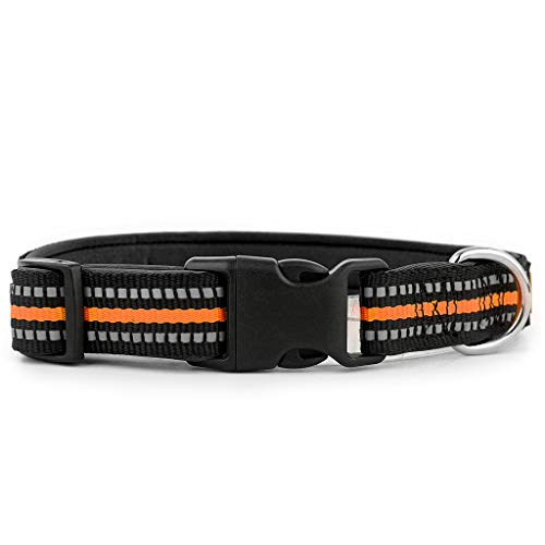 Plutus Pet Reflective Soft Neoprene Padded Dog Collar,Comfort Weatherproof Adjustable Collars,Neck 16-24 inch,Large,Orange from Plutus Pet