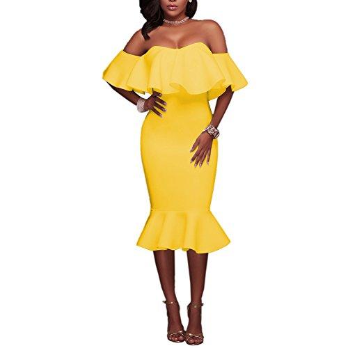 Women's Ruffle Off Shoulder Bodycon Cocktail Mermaid Dresses Midi Club Dress Yellow M